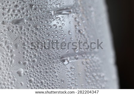 Droplets of water bottles