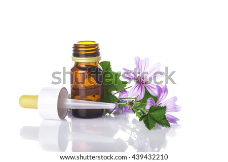 Dropper bottle with mallow malva extract or essential oil isolated on a white background - stock photo