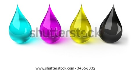 Drops in CMYK - stock photo