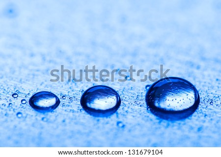Drops in row on with shallow depth of field - stock photo