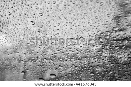 Drops of rain on glass, rainy weather