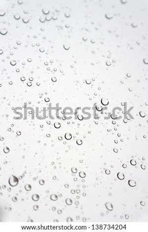 Drops of rain on the inclined window, shallow dof