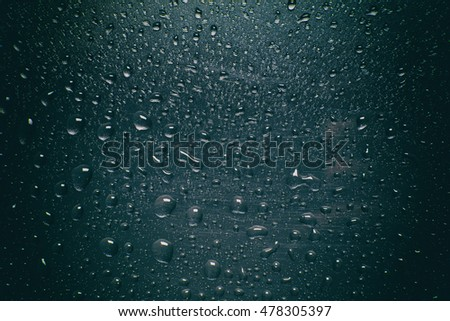 Drops of rain on the window.
