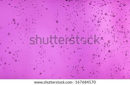 Drops of rain on the window (glass) - stock photo
