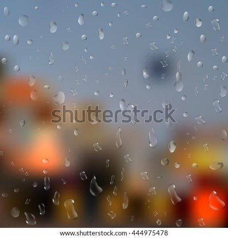 Drops of rain on window with abstract lights. 3d illustration - stock photo