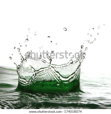 drops of water falling into the water formed in the shape of a crown splash - stock photo