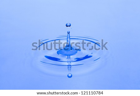 Drops of water fell into the water - stock photo