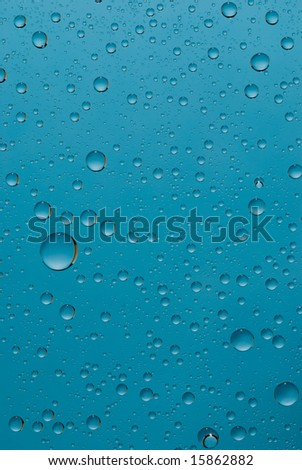 Drops of water of the different form close up