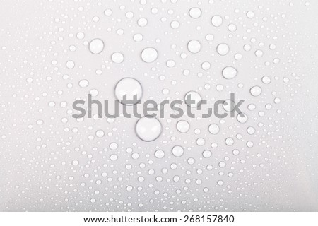 Drops of water on a color background. Gray. Shallow depth of field. Selective focus. - stock photo
