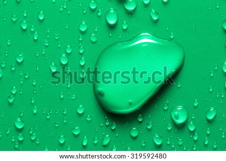Drops of water on a color background. Shallow depth of field. Selective focus. Toned. - stock photo