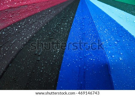 Drops of water on a colourful umbrella , Waterproof fabric background