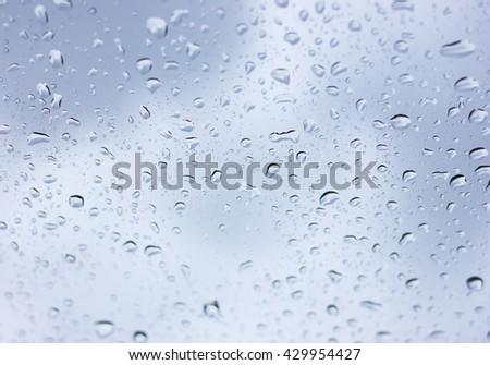 Drops of water on glass. copy space and selective focus