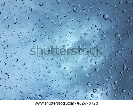 Drops of water on glass / Rain storm