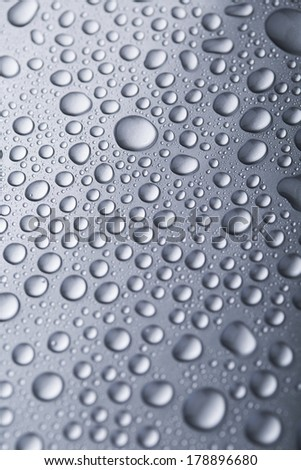 Drops of water on silver background
