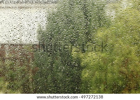 drops of water on the kitchen window