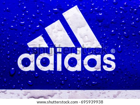 Drops of water on the logo ADIDAS
