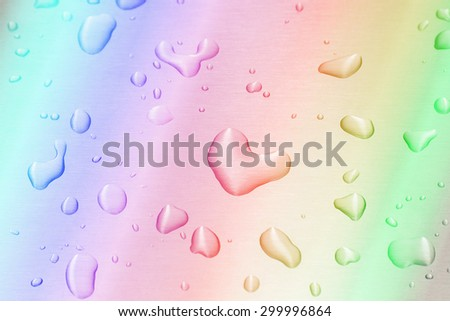 Drops of water on the metal floor - stock photo