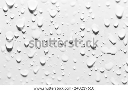 drops of water on white. close-up - stock photo