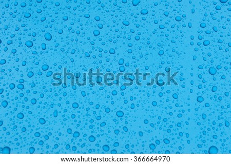 drops of water-repellent surface on blue background