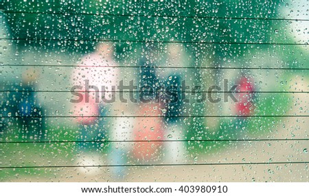 Drops on a car window - stock photo