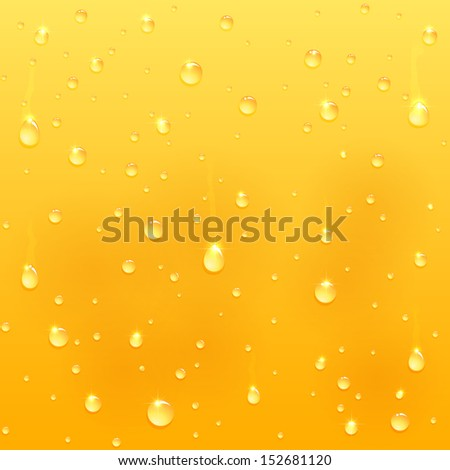 Drops on glass, yellow drink background, illustration.