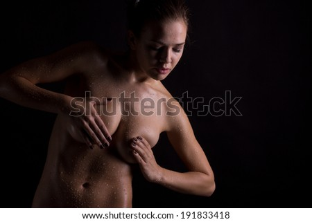 drops on the nude beauty - stock photo