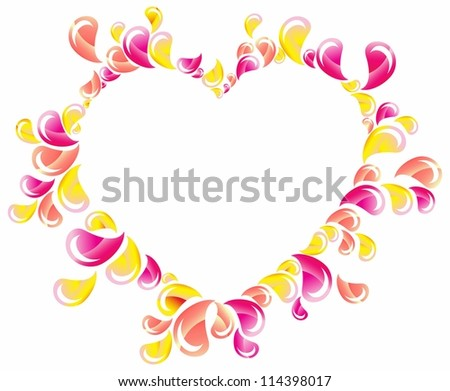 Drops splashing heart, Abstract background, Valentine frame
