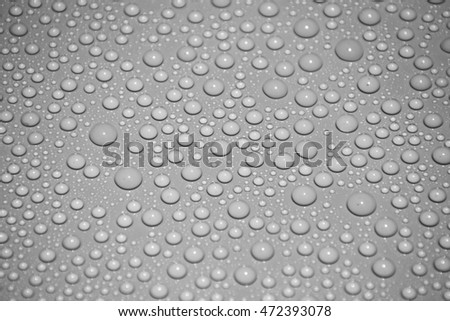 drops water on grey background
