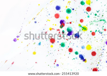 Drops watercolor splashes colorful isolated on white background. - stock photo