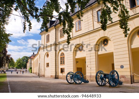 Drottningholm Palace Gardens at Stockholm, Sweden - stock photo