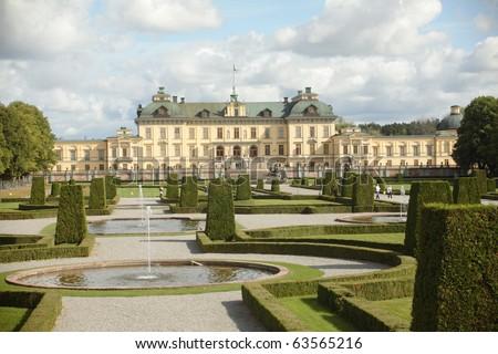 Drottningholm Palace, Stockholm, Sweden - stock photo