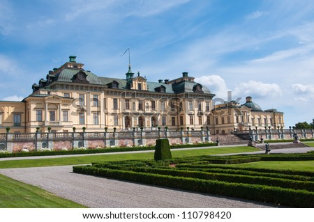 Drottningholm Palace, Stockholm, Sweden. Apart from being the private residence of the Swedish royal family, the palace is a popular tourist attraction. - stock photo