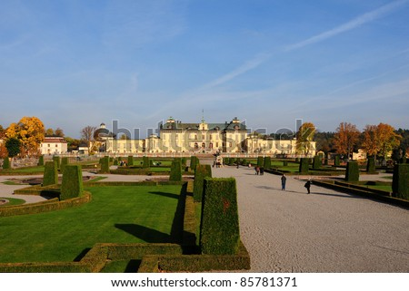 Drottningholms slott (royal palace) outside of Stockholm, Sweden - stock photo