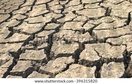 Drought cause by Climate changed effect make arid land, water shortage.