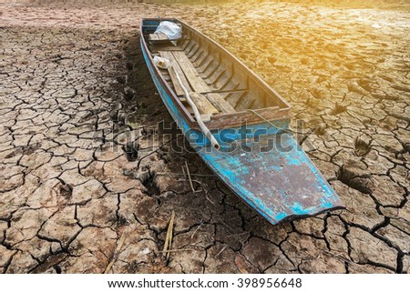 Drought causes water I can not use the boat. - stock photo