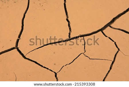 Drought, detail of ground dried and cracked mud, climate change, natural disaster and catastrophe  - stock photo