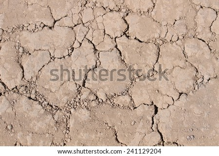 Drought - dry cracked soil. - stock photo