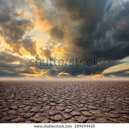 Drought land on Sunset sky background