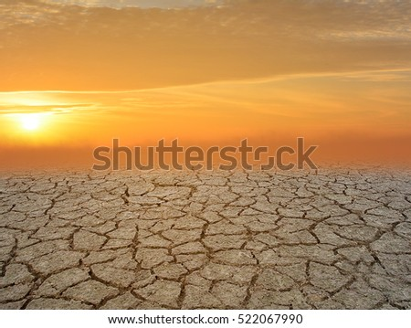 Drought land with sun shining