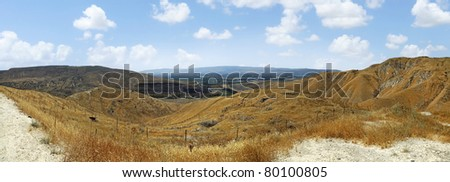 Drought summer of Israel. Panoramic view from Golan Heights ((Israel).