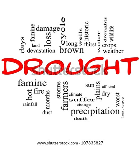 Drought Word Cloud Concept in Red and Black with great terms such as farmers, water, crops, weather, dry, climate change and more