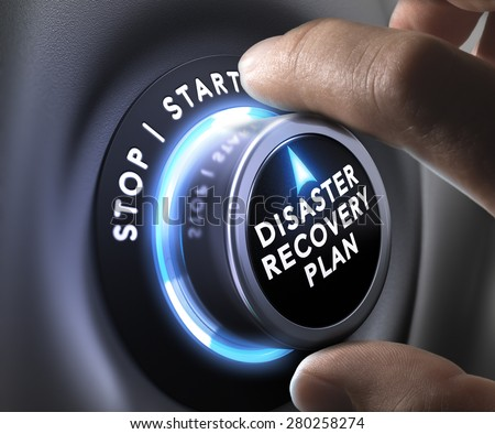 DRP, disaster recovery plan switch button with two fingers - stock photo