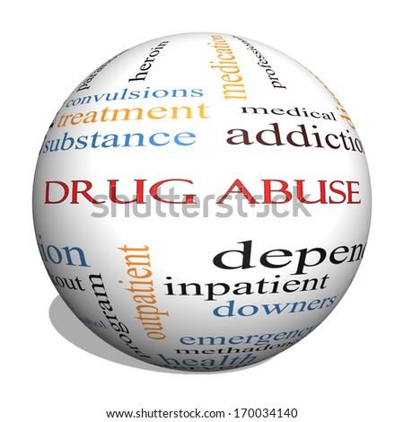 Drug Abuse 3D Sphere Word Cloud Concept with great terms such as addiction, heroin, disease, relapse and more.