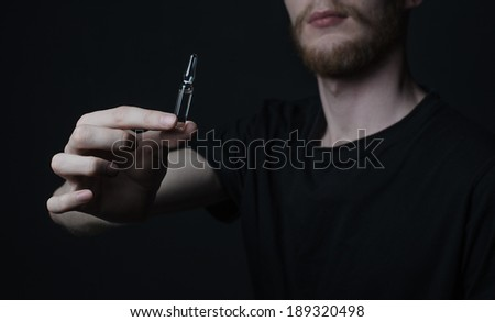 drug addict depression ampoule - stock photo