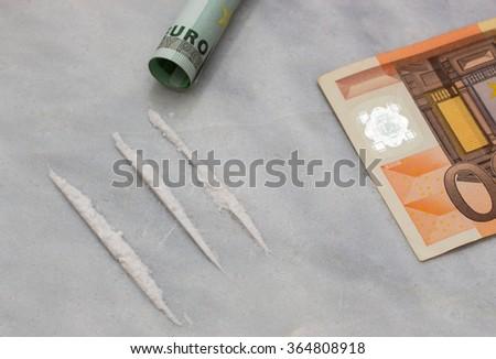 drug cocaine money euro - stock photo