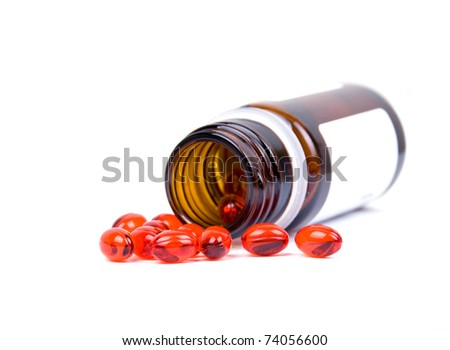 Drug in vial isolated on white background - stock photo