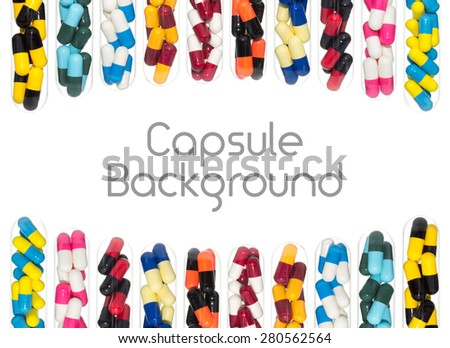 Drug or pill or capsule in test tube background on curve shape at top and bottom. Background for hospital or clinic or health or medical design - stock photo