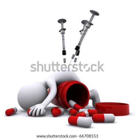 Drug overdose concept - stock photo
