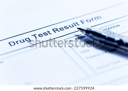 Drug test blank form with pen - stock photo