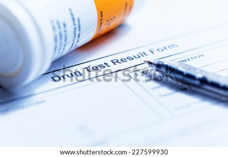 Drug test blank form with Variety of medicines - stock photo
